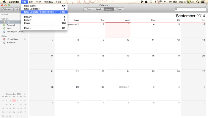 Apple iCal New Calendar Subscription